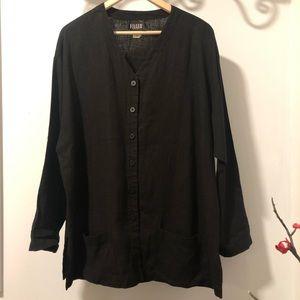 Eileen Fisher Linen Button Down Long Sleeve Shirt